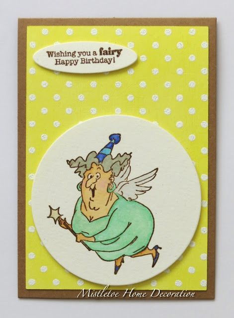 Art Impressions Rubber Stamps: Ai Spinners:  Fairy Spinner (Sku#4576) ... handmade birthday card.