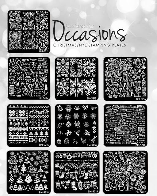 Hot Off The Stamping Press: Bundle Monster Occassions Christmas Holiday Nail Art Stamping Plates!