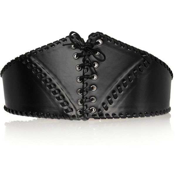 Alaïa Leather lace-up corset belt ($740) ❤ liked on Polyvore featuring accessories, belts, black, genuine leather belt, leather belt, wide corset belt, alaia belt and 100 leather belt