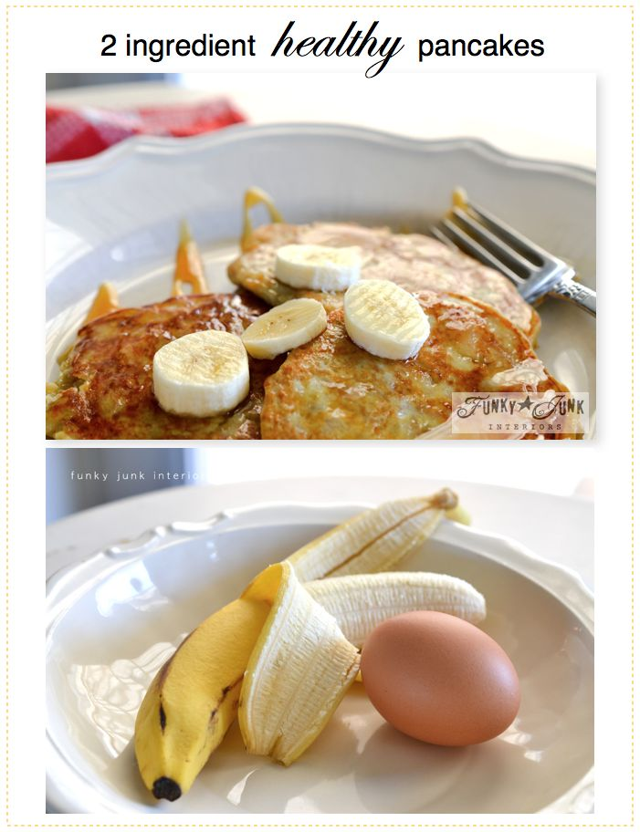 2 Ingredient Healthy Pancakes - yup, only 2! No flour or sugar in sight. via Funky Junk Interiors