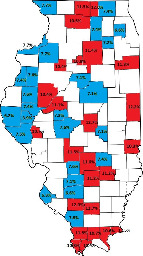 US Map Top Best Illinois Counties For Unemployment In - Interactive us map html5