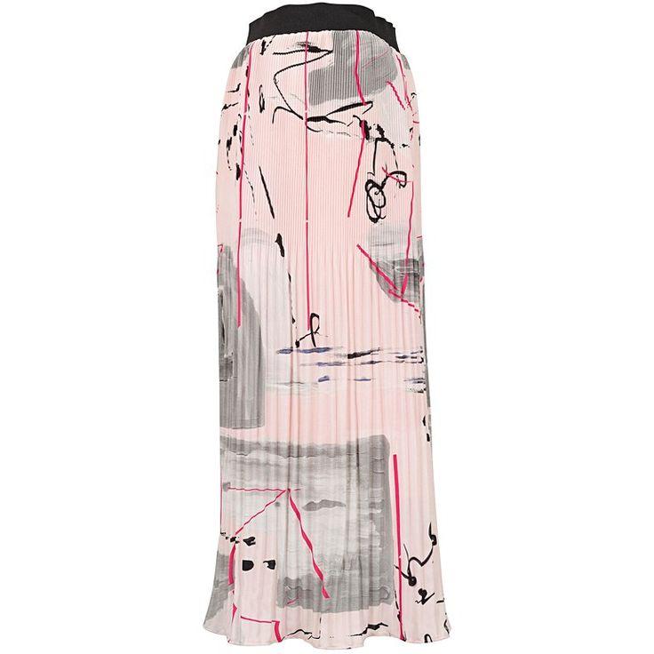 Graffiti Print Pleated Skirt