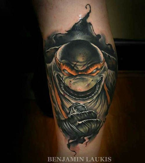 And who could forget our favorite pizza-loving turtle named after the famous artist? Cowabunga! (Tattoo by Benjamin Laukis) #InkedMagazine #tattoo #tattoos #TMNT