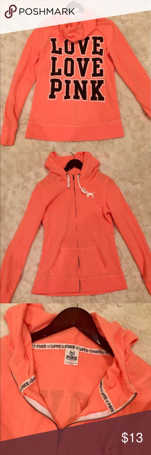 Victoria's Secret PINK peach colored hoodie Victoria's Secret PINK peach colored zip up hoodie in great condition with no stains or wears. In size small/petite.  Price is negotiable. Will send additional pictures if asked 😊 PINK Victoria's Secret Jackets & Coats