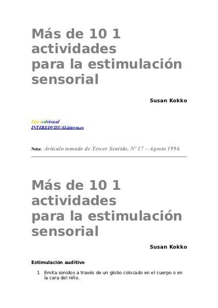 Actividades para la estimulación sensorial  by Marta Montoro Cano, via Slideshare