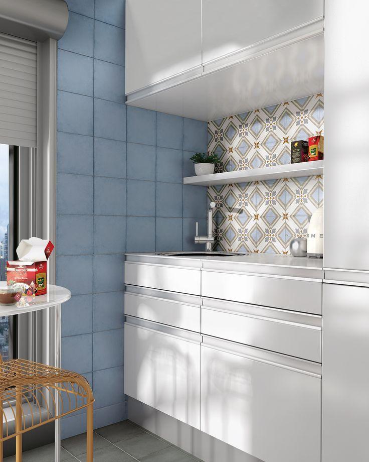 Art Nouveau Sky Blue, Charcoal Grey, Turin Colour 20x20 cm