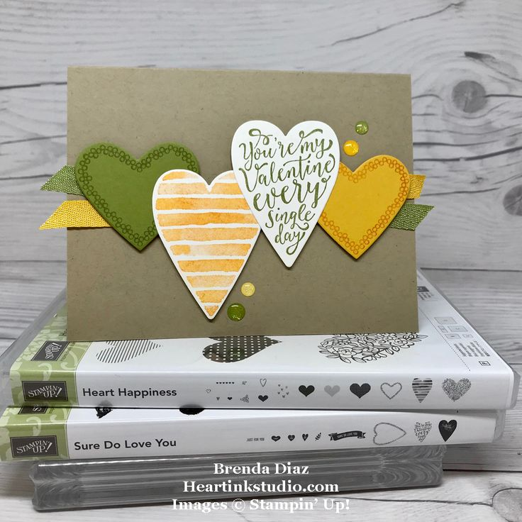 SURE DO LOVE YOU and HEART HAPPINESS Stamp Sets, glitter enamel dots; Crumb Cake, Old Olive, Crushed Curry