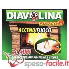 DIAVOLINA ACCENDIFUOCO 40 CUBI La potenza del fuoco elevata al cubo.  Il classico cubetto bianco di Diavolina è l'accendifuoco per eccellenza, il più venduto in Italia.  Caratteristiche A base di kerosene, è ideale per l'accensione immediata di stufe, caminetti e barbecue. http://www.spesa-facile.it/prodotti/diavolina