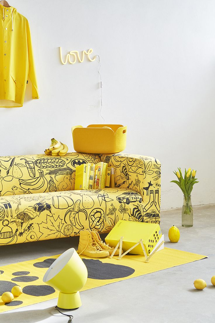 ARTEFLY Ikea Klippan cover YELLOW - interior styling / get rid of your yellow streak and give your interior a new air of mellow  #artefly #klippan #sofa #cover #slipcover #ikea #cotton #throw #couch #2seater #seater #design #homedecor #interior #pattern #pillow #cushion #yellow