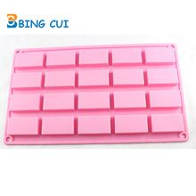 Free Shipping 20 Rectangle Shape Handmade Silicone Soap Mold Cake Chocolate Biscuit Cookie Baking Pan Kitchen Bakeware SML106(China (Mainland))
