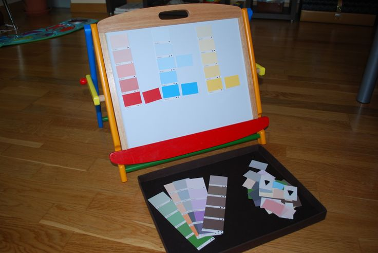 Matching shades of colour on magnetic board