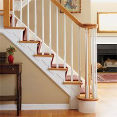 Here's how: The newel post and balusters get all the attention, while the exposed side of most staircases is largely ignored. But with the addition of decorative stair brackets, a bland stringer can become an elegant eye-catcher.    Here