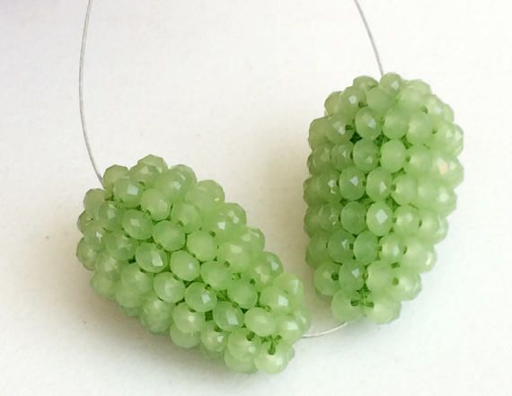 Green Glass Drops 2 Pcs Matched Pair Earrings by gemsforjewels