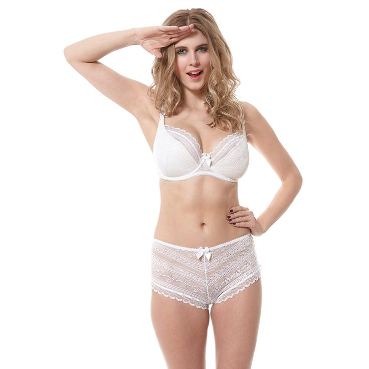 Liliana Ice White 1/2 Padded Plunge Bra and Short as worn by Ashley James