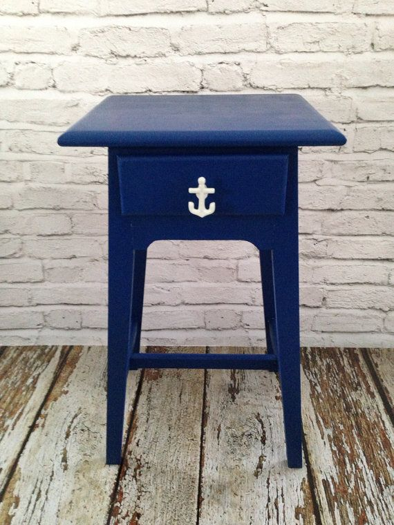 Nautical beach end table refinished furniture by megsygirl on Etsy, $60.00