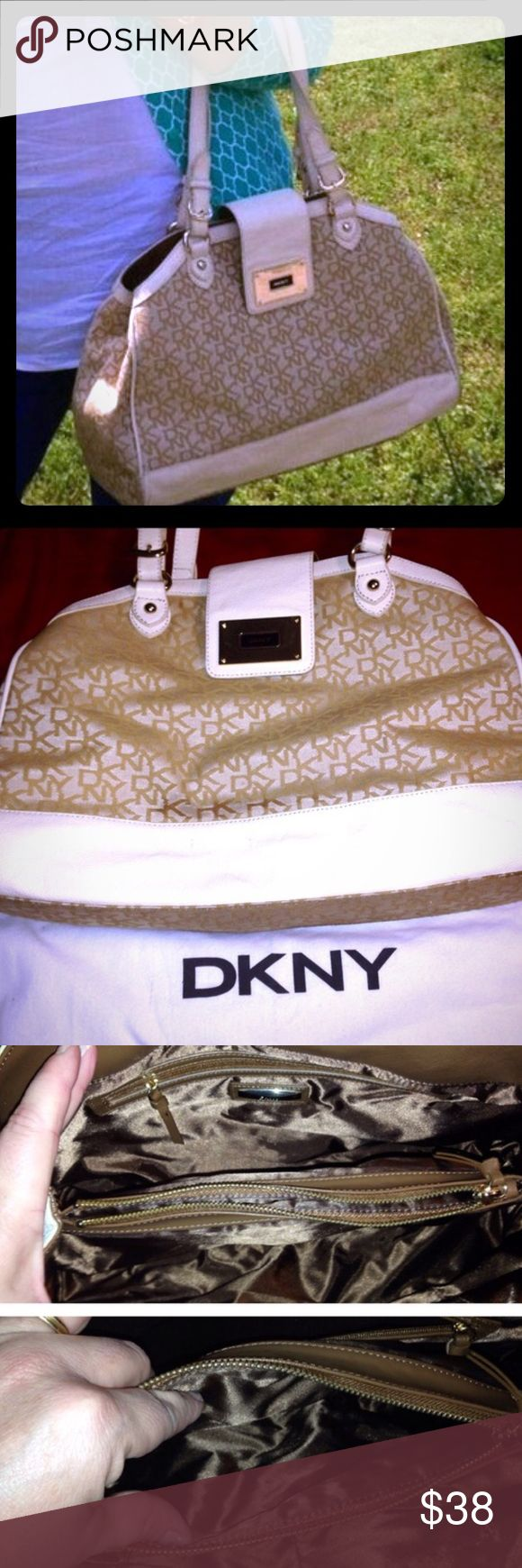 🛍Just In🛍 DKNY Large Signature Print Satchel This is a beautiful neutral purse.  Used only one season.  Nice cream and tan signature print.  Very roomy.  Not a Crossbody bag.  Dust bag included. There is some dirt on the bottom (see pic) but otherwise clean. DKNY Bags Satchels