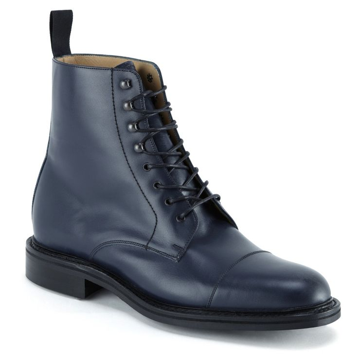Handmade Mens ankle leather boots, Men navy blue leather boot, Men dress boot - Boots