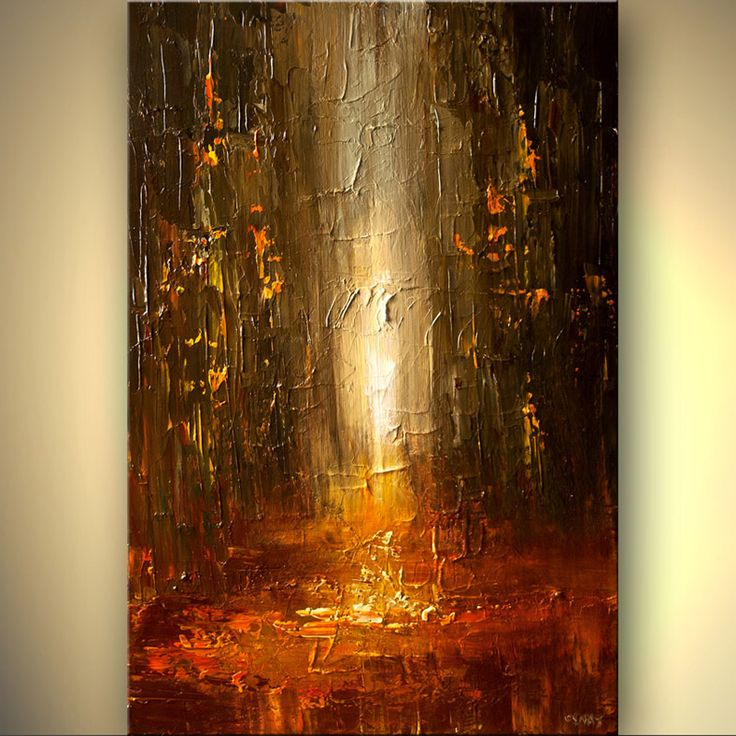 Original abstract art paintings by Osnat - abstract painting of city street in rusty red