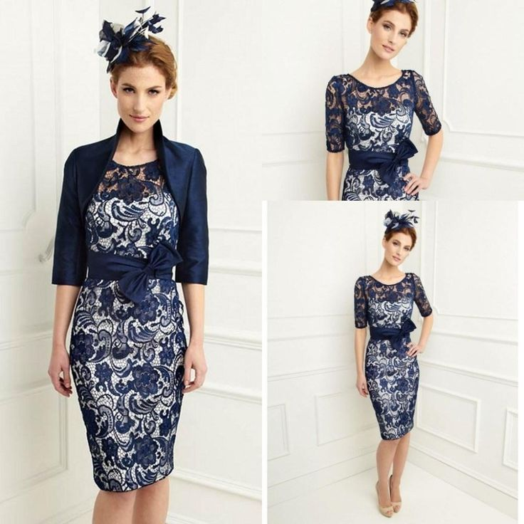 New Navy Blue Satin Lace Knee Length Sheath Scoop Mother of the Bride Dresses With 3/4 Sleeves Jacket Mother Dress Plus Size, $87.23 | DHgate.com