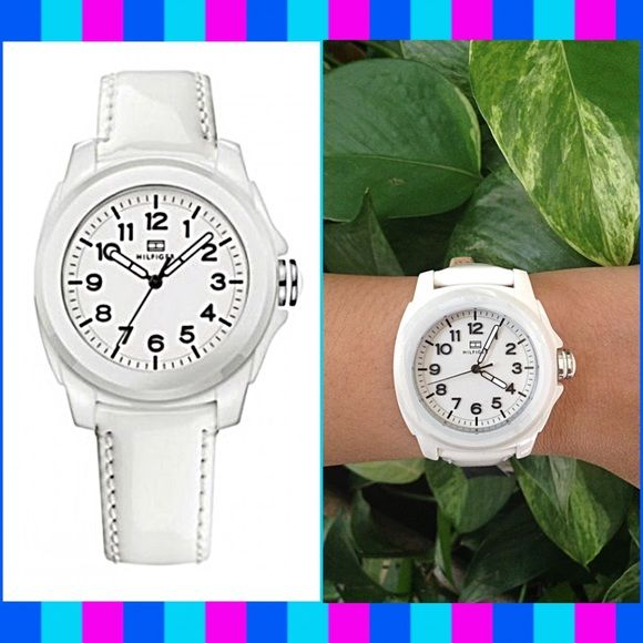 Authentic Tommy Hilfiger Ceramic Ladies Watch % AUTHENTIC ✨ Very pretty, very casual women's watch from Tommy Hilfiger  Gorgeous, polished white ceramic case  White leather strap and pin buckle closure completes this women's watch New with tag✨ NO TRADE  MAKE AN OFFER Tommy Hilfiger Accessories Watches