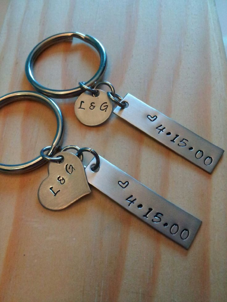 Hand Stamped Keychain Personalized Keychain Couples Keychain - Wedding Gift or Anniversary Gift by BlackWolfDesigns21 on Etsy https://www.etsy.com/listing/182434367/hand-stamped-keychain-personalized