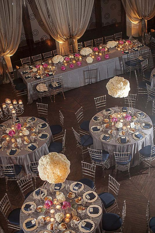 Silver, navy, & pink accents #weddings #thereception #blisschicago