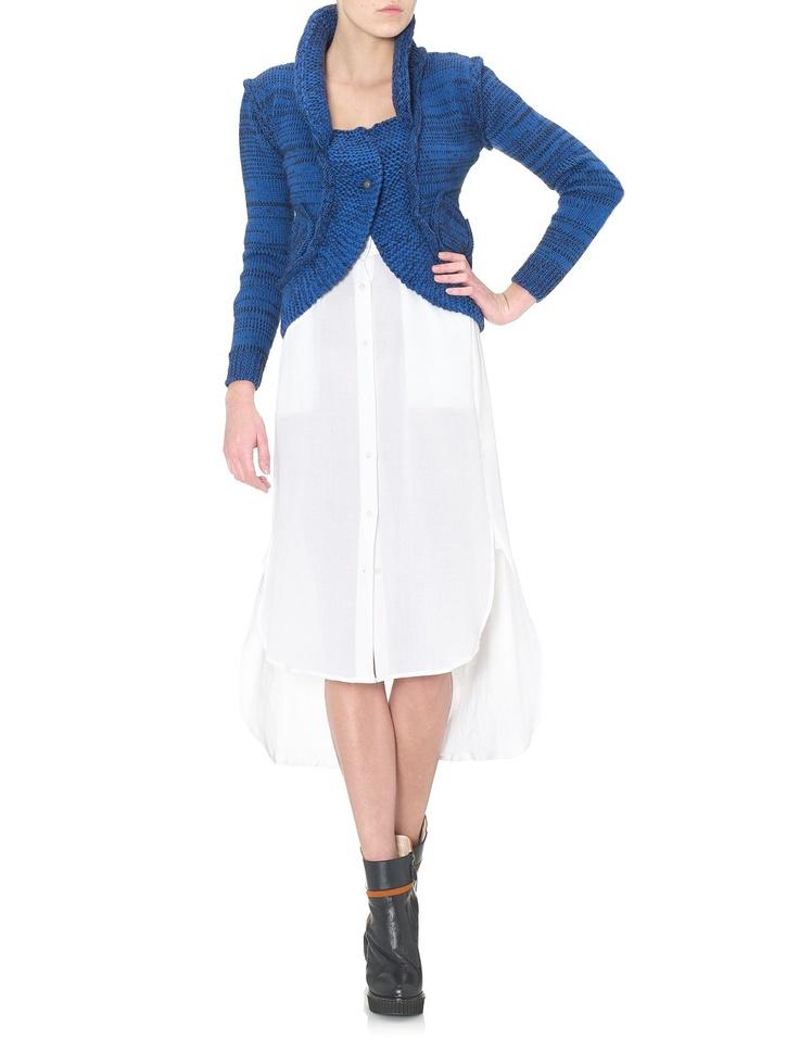 Blue Merino Mulita Cropped Cardigan | Garzon | Avenue32