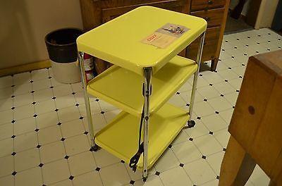 Vtg-COSCO-CART-yellow-tea-utility-retro-chrome-mid-century-modern-metal-N-CHROME