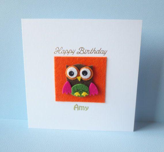 Owl birthday card Owl card First birthda card by FyneHandmadeCards