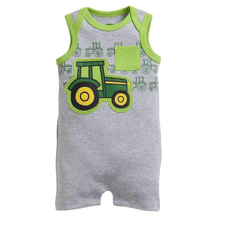 Baby Boy John Deere Tractor Applique Romper, Size: 0-3 Months, Light Grey