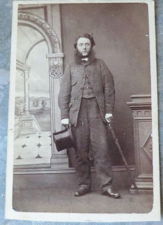 CDV Photo Man Holding Top Hat & Cane Crazy Mutton Chops Beard - Glasgow, Scotland c. 1870