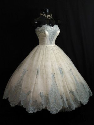 Vintage 1950's 50s STRAPLESS Ivory Blue Chiffon Organza Party Prom Wedding DRESS | eBay