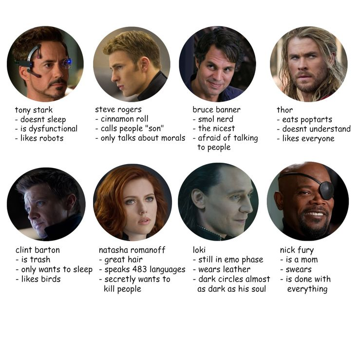 tag urself im 100% bruce, thor, fury and loki and like 66% tony, natasha and clint and like 33% steve... sorry steve