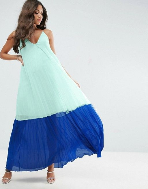Mint and dark blue Color Block Pleated Cami Maxi Dress for spring and summer