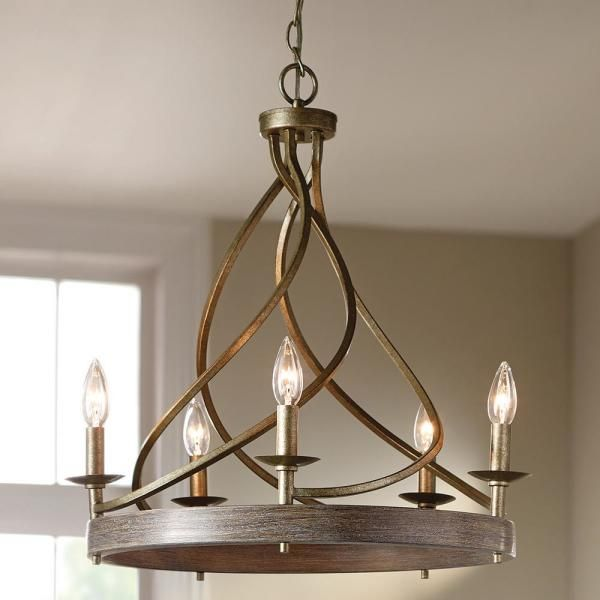 Home Decorators Collection 21 5 In 5 Light Gilded Pewter Chandelier 7928hdc The Home Depot In 2021 Rustic Light Fixtures Dining Chandelier Farmhouse Light Fixtures