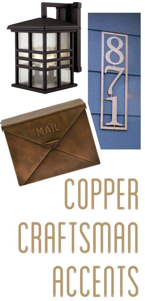 Copper Craftsman Exterior Accents www.BrightGreenDoor.com