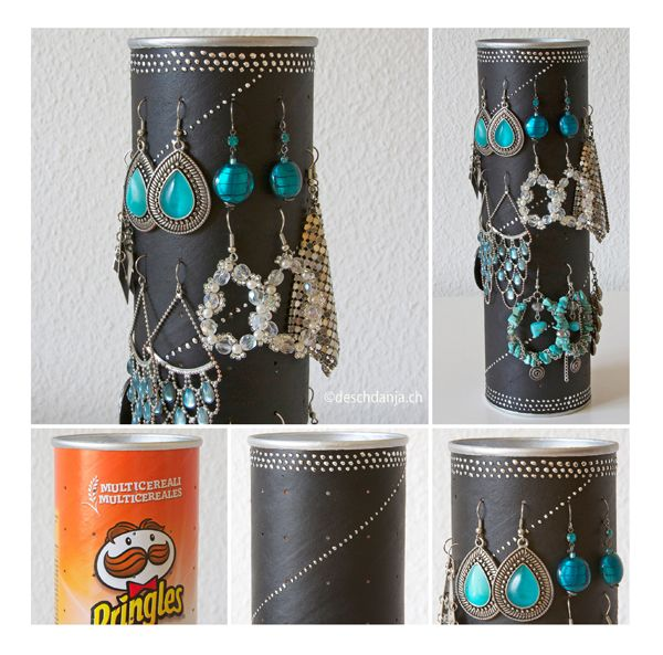 Pringles can recycling: Earring display, www.deschdanja.ch