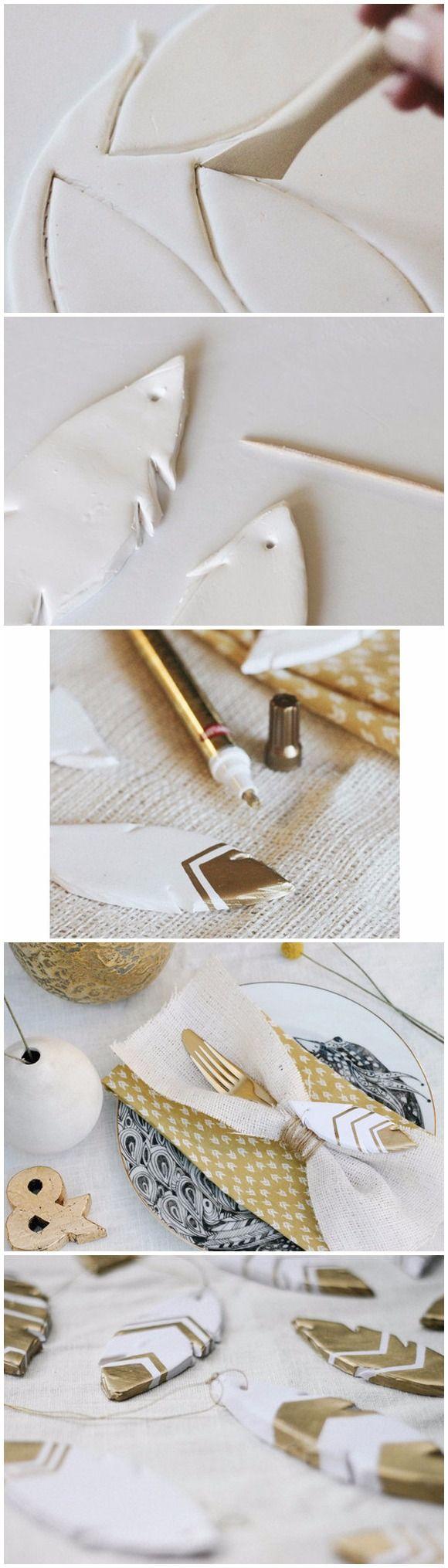 Plumas de arcilla para decorar / http://www.100layercake.com