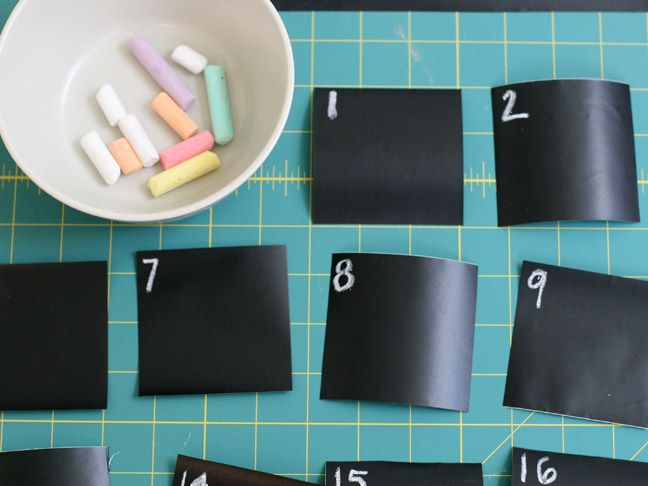 chalk board contact paper used as a monthly calendar