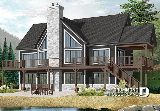 Discover The Plan 3912 V1 The Lakeshore Which Will Please You For Its 1 5 2 3 4 Bedrooms And For Its Cottage Chalet Cabin Styles Lake House Plans Basement House Plans New House Plans