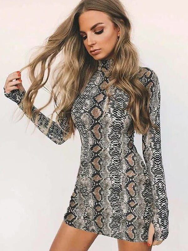 e22d9e572a9 Long Sleeves Snake Print Mini Dress