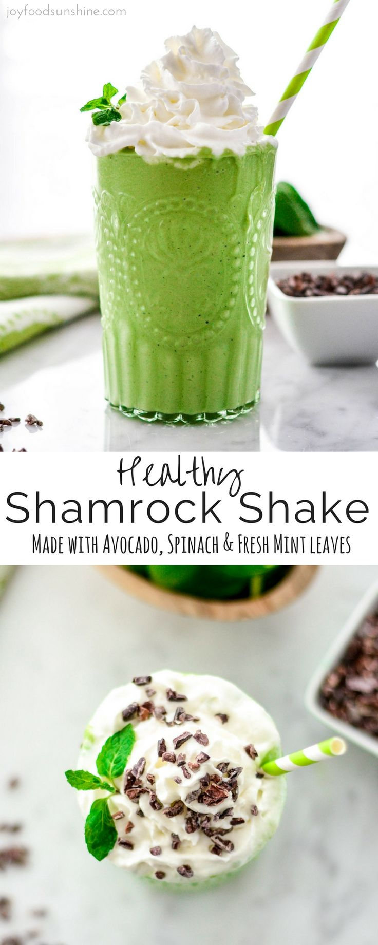 This Healthy Shamrock Shake recipe is made with 8 nutritious ingredients like avocados, spinach & Greek yogurt & is ready in 5 minutes! The perfect St. Patrick's Day treat!