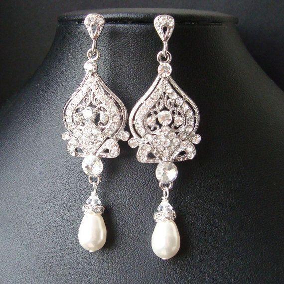 Bridal Bracelet Swarovski Crystal & Pearl Wedding by luxedeluxe