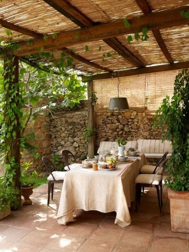 bamboo awningOutdoor Dining, Outdoor Bamboo Blinds, Rustic Patio, Stone Walls, Rustic Chic, Gardens, Patios Ideas, Outdoor Spaces, Patio Ideas