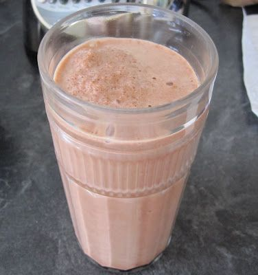 Low-Fat, Fat-Free Wendy's smoothie copy-cat  1 cup fat free milk 2 tablespoons chocolate fat free sugar free Jello instant pudding 2 tablespoons fat free Cool Whip 8 ice cubes  Blend together in blender