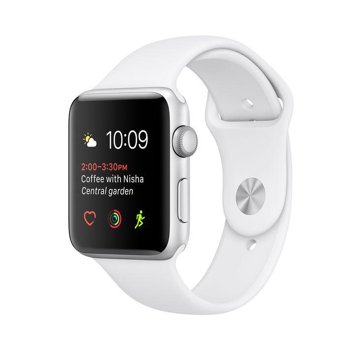 Apple Watch - Boîtier en aluminium argent avec Bracelet Sport blanc 42mm série 2 (étanche )