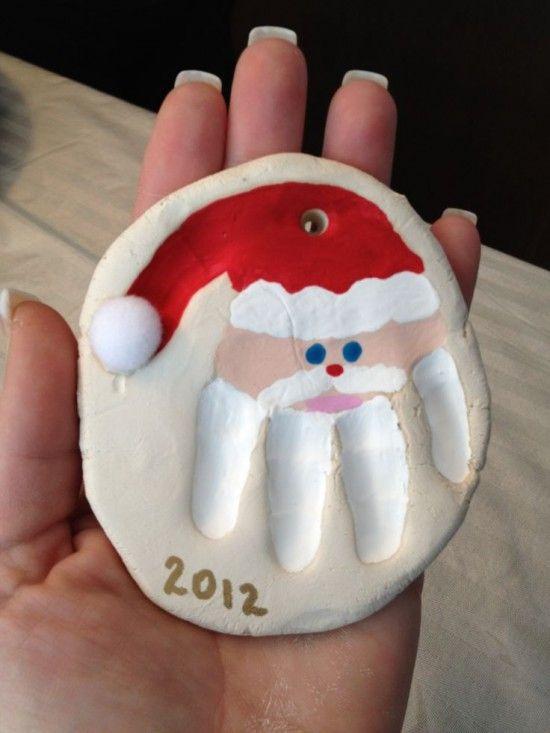 Salt Dough Santa Handprint Christmas Ornament