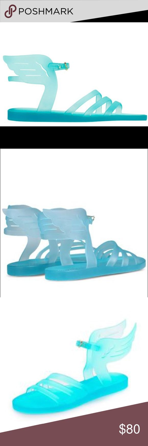 Clear Turquoise Jelly Ancient Greek Sandals Plastic / Jelly • Clear Turquoise • Size 38 • Cute Wing Design   Only wore these 2.5 times! (To get the mail barely counts.) These are adorable, but they're a little too snug for my feet! I feel like they're better for a 7-7.5 rather than the 7.5-8 that I am. I'll clean the bottoms and try to get a pedicure before taking photos of them on. They're great for summer, and look amazing with any outfit. They look good on the legs, too. Ancient Greek…