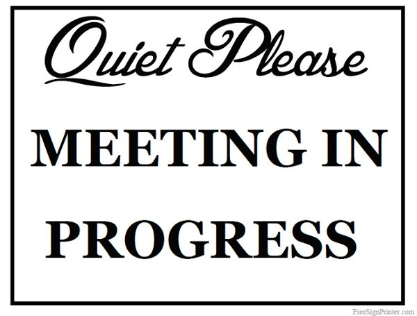 Conference Room Not In Use Sign Template