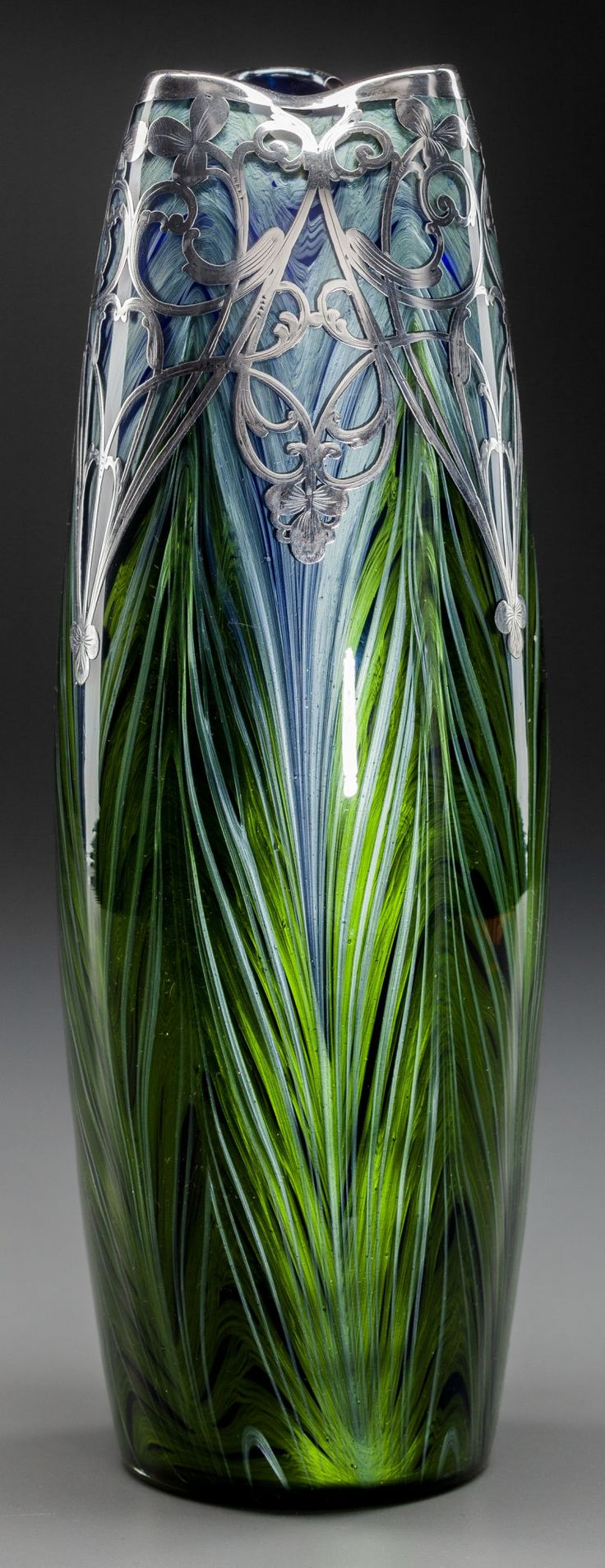 LOETZ IRIDESCENT FEATHER PULL GLASS VASE WITH SILVER OVERLAY,Klostermuhle, Austria, circa 1905. Marks: STERLING